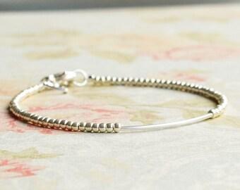 Silver Seed Bead Bracelet, Silver Tube Bracelet, Stacking Bracelet, Minimalist Bracelet, Dainty Bracelet, Simple Bracelet, Delicate Bracelet