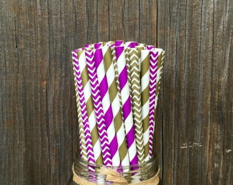 100  Purple and Gold Straws, Party Supply, Picnic Supply