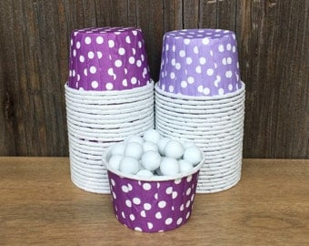 48 Purple and Lilac Polka Dot Candy Cups--Birthday Party--Mini Cupcakes--Nut Cups-- Shower Supply--Lavender Candy Cups
