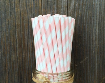 100 Light Pink Striped Straws, Baby Shower, Birthday Party, Easter, Striped Paper Straws