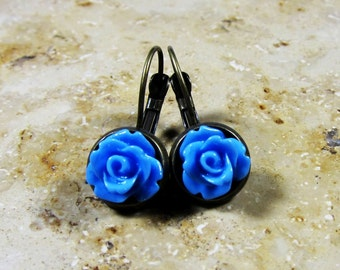 Small blue roses flowers earrings bronze