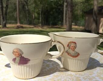 George Washington, Martha Washington, vintage, cream and sugar, porcelain, Presidential, dainty