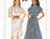 Easy UNCUT Size 6-14 Misses' Cap Sleeve Pullover Dress With Elastic Waist & Flared Skirt Or Slim Skirt Sewing Pattern - Simplicity 9602
