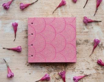 Hand Bound Mini Sketchbook - Coptic Stitch - Journal / Notebook - Pink & Gold Scallops / Dots - Small - Pocket Journal / Travel Journal