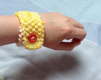 Bracelet Cuff, Wrist Cuff, Large Bracelet, Yarn Bracelet, Woolly Bracelet, Hand Knit Bracelet, Hand Knit Jewelry, Yarn Jewelry, Gift for Her