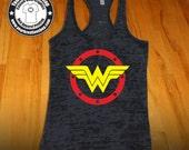 Wonder Woman Tank Top - Racerback Burnout Tank Top Womens Workout Tank Tops Cross Training Tank Top Gym Tank Tops Super Hero Inspired