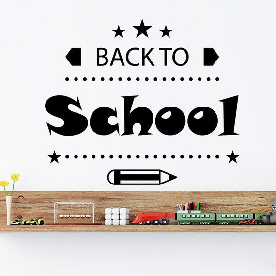 Wall decals quote back to school decal nursery kids room decor for Back to school wall decoration