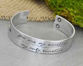 You Are My Sunshine My Only Sunshine Aluminum Brass or Copper Bangle Set - Mother Daughter Gift