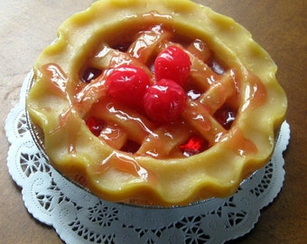 Lattice Topped Cherry Pie Candle 5""