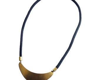 Black Rope and Crescent Statement Necklace