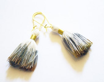 Gorgeous Silver and Gold Ombre Dip Dyed Cotton Tassel Gold Plated Drop Earrings