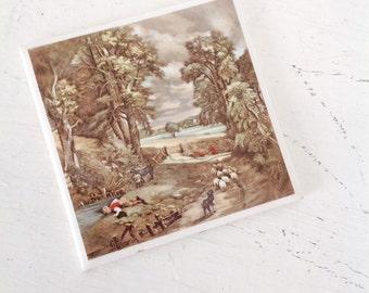 Vintage Italian Ceramic Painted Tile TR Bootes LTD Ceramic Tile Art TR Bootes  Printed Country Themed Ceramic Tile Decorative Tile Trivet