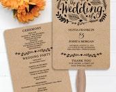 Wedding Fan Programs - Woodland Foliage Wedding Program - DIY Editable Wedding Program - Wedding Ceremony - DIY Program - Instant Download