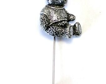 Teddy Bear Lapel Stick Pin, English Pewter, Handmade, cravat, tie, (ab)