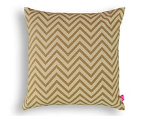 Beige chevron pillow, cotton, print in back & front, reversible cushion, standard size 16X16 inches, other sizes available