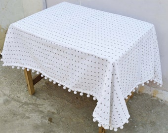 Aztec table cloth, triangle print, gray and white, 100% cotton, cabana , pompom lace, sizes available