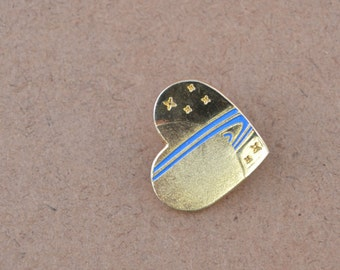 Gold Tone Heart Pin/Brooch Has Saturn With Blue Enamel Rings And Six Stars