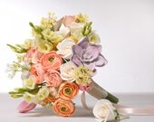 Wedding bouquet and boutonniere set, made of air dry clay, bridal bouquet with roses, succulents, ranunculus and tulips in pastel shades