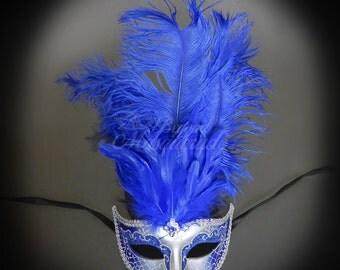 Masquerade Mask, Feather Masquerade Mask, Feather Masks, Mardi Gras Mask, Mardi Gras Masks, Masquerade Ball - Silver/Royal Blue
