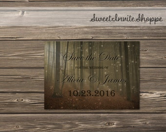 Woodsy Save The Date, Autumn Forest Save The Date, Fall Leaves Invitation, Rustic Autumn Wedding Invitation,  Fairy Lights Invitation. DIY