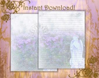 Garden Stationery, Angel Stationery, Angel Paper, Angel Statue, Stationery Paper, Letter Writing, Stationery Page, Nature Stationery