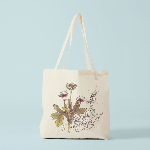 Tote Bag, Herbarium, Astrance, canvas bag, fabric tote, cotton bag, novelty gift, gift for women, gift coworker, birthday gift, flowers.
