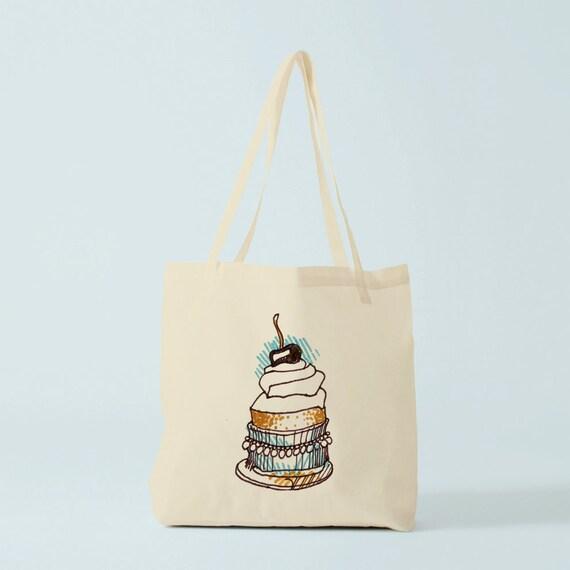 Tote Bag Cherry Chantilly, cotton bag, canvas bag, yoga bag, groceries bag, school bag, novelty gift, gift for woman, cake bag, desert bag.