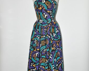 80s tribal print dress / 1980s fitted party dress / graphic cotton dress