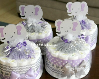 purple gray elephant baby shower girl shower decor centerpieces