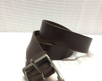 Polo Ralph Lauren, Brown Leather Belt, Pewter Tone Buckle