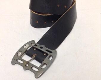 "Black Leather Belt ,Gothic Buckle,black leather,pewter tone,34"""