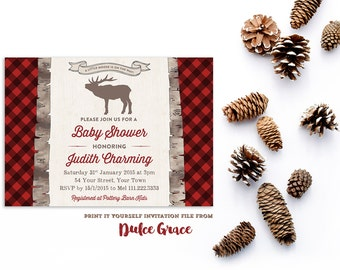 little moose shower invitations, moose on the way baby shower invites, buffalo plaid shower invitations, elk baby shower invite, PRINTABLE