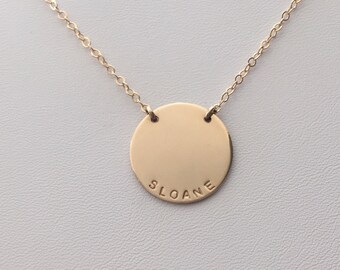 """The Zola Disc Necklace / Personalized 3/4"""" Disc Necklace / Gold, Silver, or Rose Disc Necklace"""