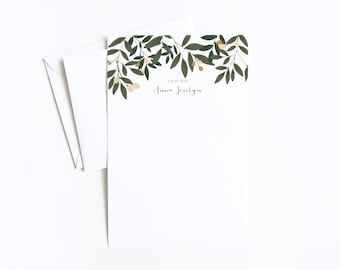 Personalized Letter Writing Sheets | Floral Personalized Stationery Set with Custom Writing Paper : Orchard Collection