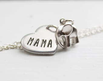Mama Elephant Necklace - Silver Mama Elephant Jewelry - Gift for Mom Necklace - Mother Elephant