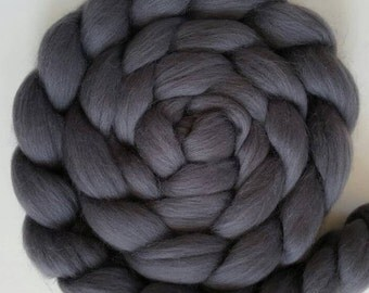 Extra Fine Merino Wool Roving / Combed Top / Wool in DHG's Classic Collection - Dark Gray (Storm)  - 4 ounces