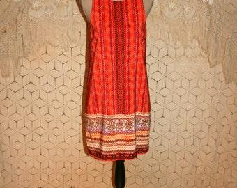 Sleeveless Dress Shift Dress Tribal Print Dress Orange Midi Medium Summer Dress Womens Sundress Zig Zag Womens Clothing