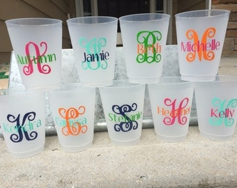 16oz Frosted Flex Shatterproof Cups; Monogrammed/Personalized Shatterproof Cups (reusable)