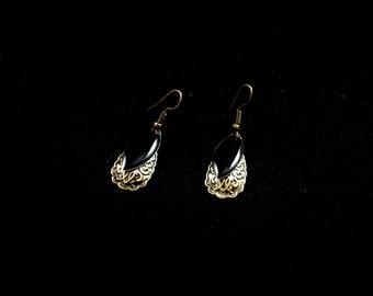 Delicate bronze ear rings, drop of water and deep black sequin