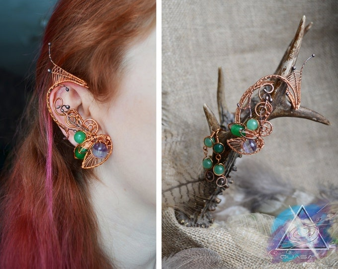 "Set ""Spring tree"" Ear cuff and earrings 