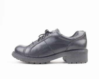 90s Vintage Chunky Shoes | Black Vegan Leather Oxfords | Womens Size US 9 UK 7 Euro 39 - 40