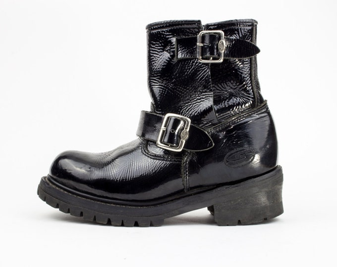 90s Skechers Black Patent Leather Motorcycle Boots | Chunky Platform Combat Boot | Women's Size US 4 - UK 3.5 - Euro 36 | Goth Grunge Ankle