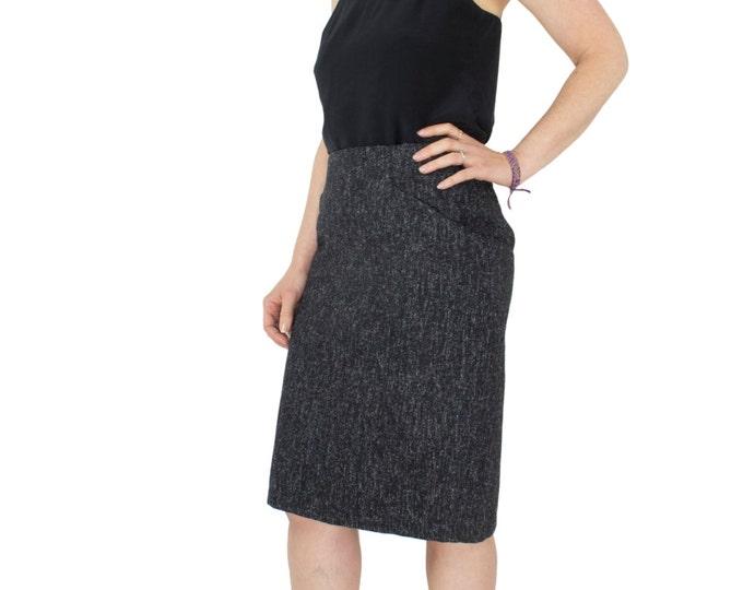 90s Vintage Wool Pencil Skirt with Pockets | High Waist Salt and Pepper Knee Length Skirt | Women's Size 7 / 8 | Minimalist Goth Chic