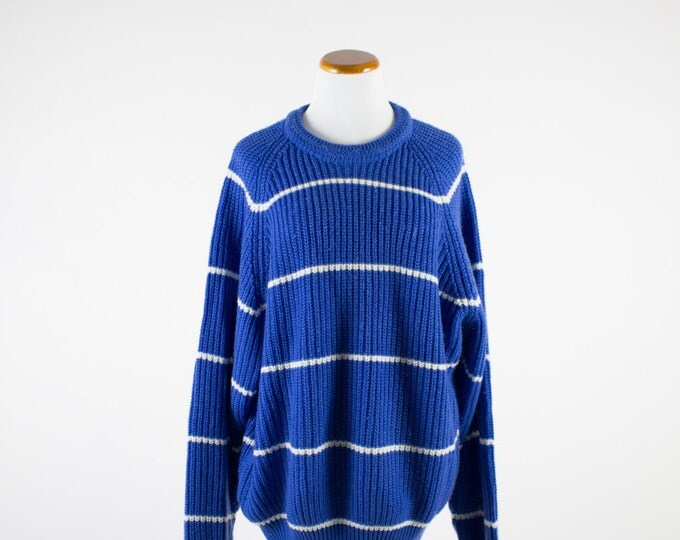Vintage Sweater | Oversize Striped Pullover | 1980s Blue and White Shirt | XXL