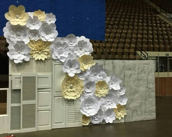 Paper Flowers Set of 30 (Cream and White ) Paper Flower Wall | Wedding Backdrops | Paper Flower Backdrops | Large Paper Flowers | Home Decor