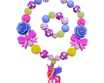 My Little Pony Necklace, Princess Cadence Necklace, MLP Necklace, Bubblegum Necklace, Chunky Necklace, Chunky My Little Pony Necklace, mlp