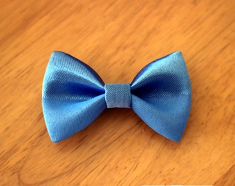 "3.25"" blue metallic hair bow, blue fabric hair bow clip, small hair bow, hair bow for teens women, kids hair clip, girls hair bow, hairbow"