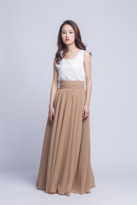 high waist prom skirt chiffon maxi skirts beautiful pleated