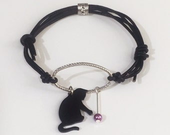 Black Cat Bracelet,  Cat Silhouette Bracelet, Cat Lady Bracelet, Leather Cord Cat Bracelet