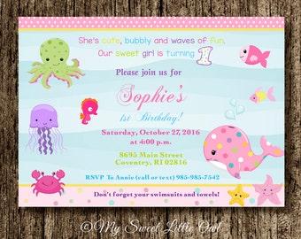 Girl Under the sea invitation - under sea printable - under the sea invite -  under the sea birthday - under the sea baby shower invitation
